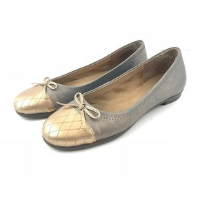 Aerosoles 7.5 Flats Leather Metallic Cap Toe Bow